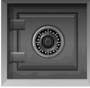 An illustration of the front of a safe.