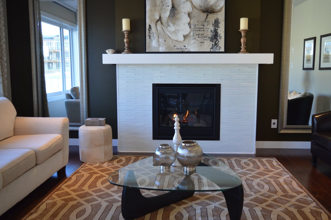 fireplace home living room