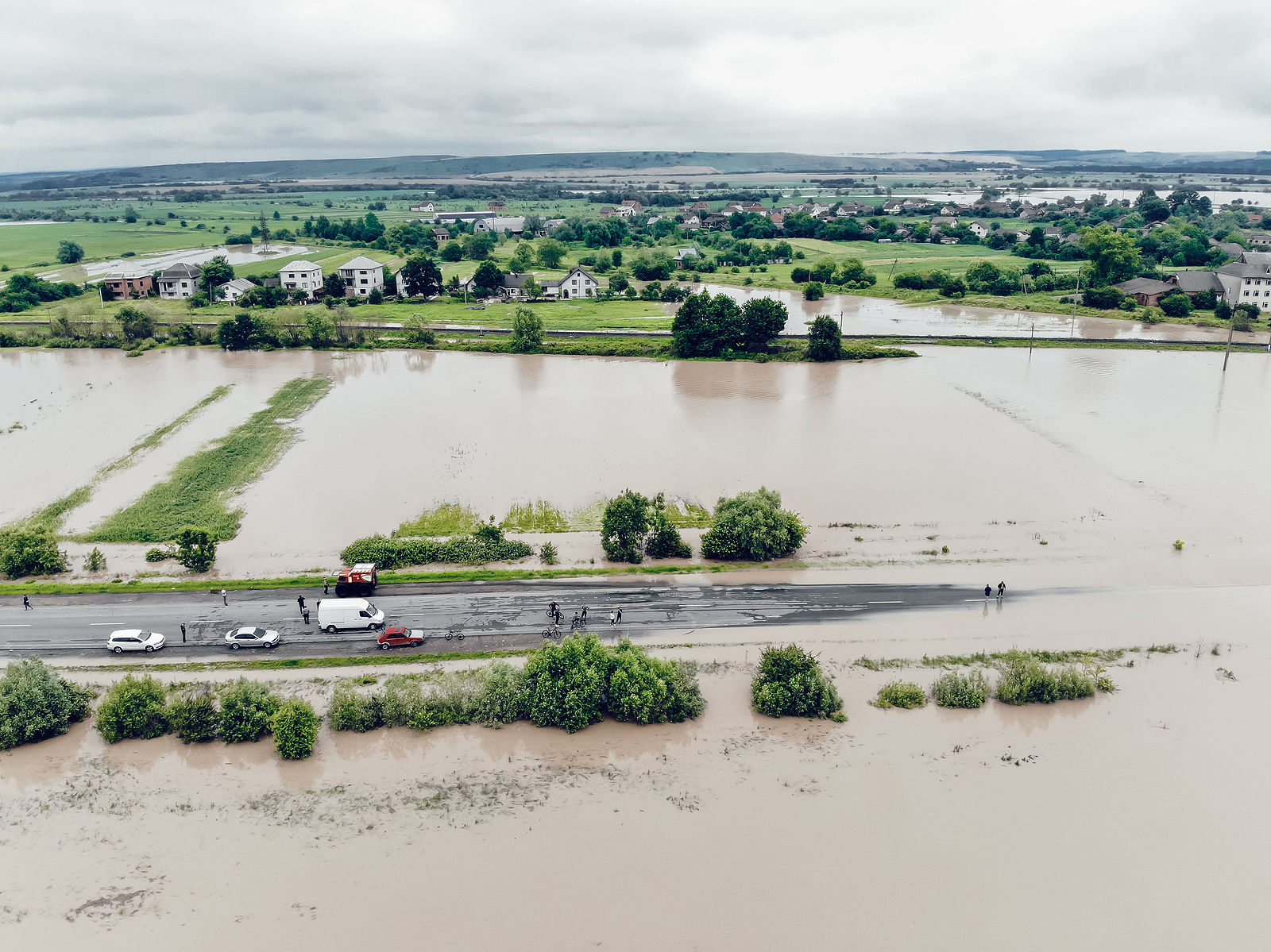 Aerial View Of The Flooded Streets And Houses In The City. Globa