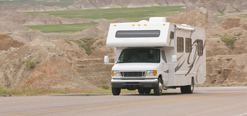 Motorhome Driving Down Highway