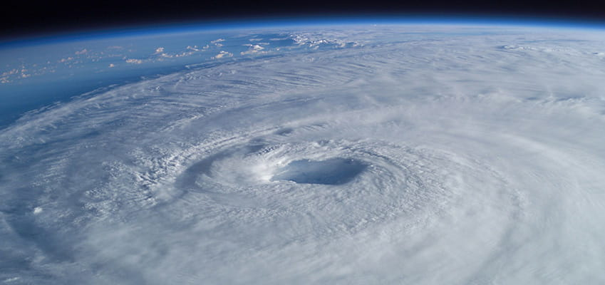 image of hurricane center from space